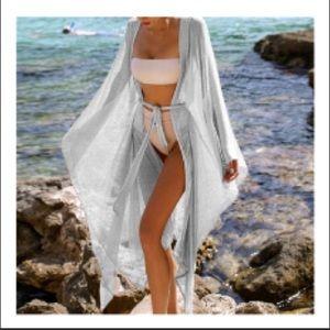 Sexy Silver White Shimmers Kimono Coverup